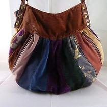 Lucky Brand  Patchwork Velvet Hobo Bag Purse Tote Handbag Photo
