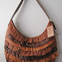 Lucky Brand Pickfare Ruffle Hobo Zip Top Bag Purse Brown Nwt  Photo