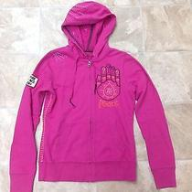 Lucky Brand Pink Peace Zip Hoodie With Stitching and Patch Size Small Photo