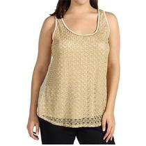 Lucky Brand Plus Size Women's (2x)(18w-20w) Gilded Lace Tank Top Creme Brulee Photo