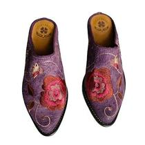 Lucky Brand Purple Suede Cathy Mules Floral Embroidered Leather Bohemian 6 M Euc Photo