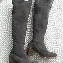 Lucky Brand Rayla Charcoal Gray Suede Over the Knee Boots Sz 8 Photo