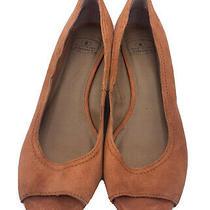 Lucky Brand Size 9 M Orange Suede Upper Peep Toe Wedges Photo