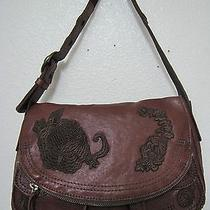 Lucky Brand Stash Floral Embroidered Bourbon Brown Euc Photo