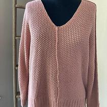 Lucky Brand Sweater Size Small Pink Blush Oversized Open Knit Cotton Blend Photo