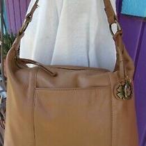 Lucky Brand Tan Leather Shoulder Hobo Bag Purse Zipper Charms Photo