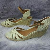 Lucky Brand Tan With Gold Wedge Espadrille Sandals Size 9.5 Photo