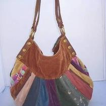 Lucky Brand Terry-Cloth Canvas Patchwork Multi-Colored Hobo Purse Bag Photo