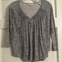 Lucky Brand Top Blue White Paisley Floral Petite Small Photo