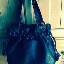 Lucky Brand Tulip Drawstring Bag Lambskin Hobo Shoulder Black Nwot Photo