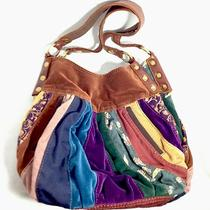 Lucky Brand Velvet & Leather Patchwork Quilted Sac Hobo Handbag Purse W Dust Bag Photo