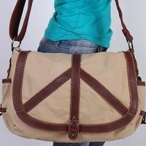 Lucky Brand  Very Lrg Tan Brown Canvas Leather Crossbody Shoulder Hobo Purse Bag Photo