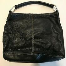 Lucky Brand Vintage Inspired Black Pebbled Leather Hobo Tote Bag Purse Photo