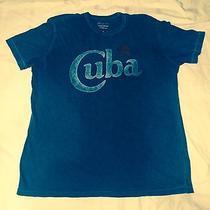 Lucky Brand Visit Cuba Large Vintage Blue T-Shirt Short Sleeve Havana Size L Photo