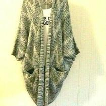 Lucky Brand Woman's Oversized Sweater Gray Slouchy Pockets Hobo Chic Outerwear Photo