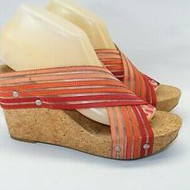 Lucky Brand Women's 7.5 M Red Orange Cork Cross Strap Wedge Heels Sandals Shoes  Photo
