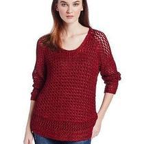 Lucky Brand Women's Marissa Metallic Sweater Biking Red Medium Nwt Photo