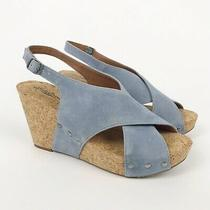 Lucky Brand Women's Minari Wedge Sandals Riviera Natural Blue Suede Size 10 M Photo