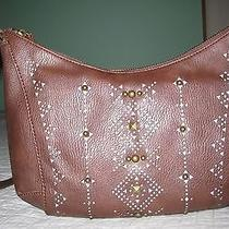 Lucky Brand Women's Newport Perforated Studded Cross Body Bag in Brown New Photo