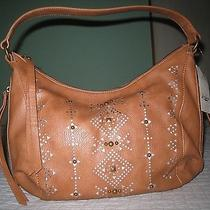 Lucky Brand Women's Newport Perforated Studded Hobo Bag in Cognac New With Tag Photo