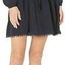 Lucky Brand Women's Parker Long Sleeve Ruffle Fit and Flare Dress Navy Xs Photo