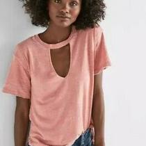 Lucky Brand Women's Size S Venice Burnout Choker Tee T-Shirt Top Blush Pink Photo