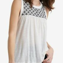 Lucky Brand Women's Top White Size Xs Tank Knit Embroidered Crew Neck 59 606 Photo