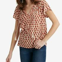 Lucky Brand Womens Beige Printed Short Sleeve v Neck Tunic Top Size M Photo