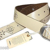 Lucky Brand Womens Belt Leather Cutout Silvertone Buckle Distressed Ivory M New Photo