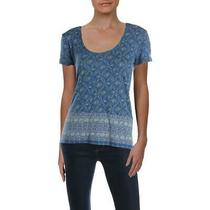 Lucky Brand Womens Blue Linen Blend Scoop Neck Casual T-Shirt Top Xs Bhfo 1860 Photo