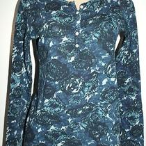 Lucky Brand Womens Boho Chic Aqua Green Floral Blouse Shirt Top S 2 4 Photo