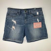 Lucky Brand Womens Distressed Handcrafted the Roll Up Blue Denim Shorts 10/30 Photo