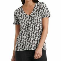Lucky Brand Womens Gray Printed Short Sleeve v Neck Top Size S Photo