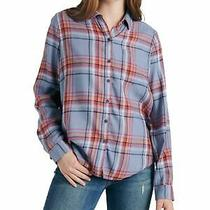 Lucky Brand Womens Light Blue Plaid Long Sleeve Collared Button Up Top Size Xs Photo