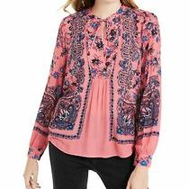 Lucky Brand Womens Pink Floral Long Sleeve v Neck Tunic Top Size Xs Photo