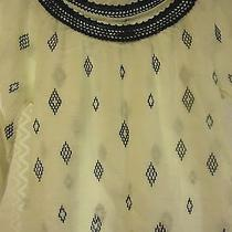 Lucky Brand Womens Size S Shirt White & Navy Blue Hippie Hobo Embroidered  Photo