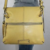 Lucky Brand Yellow Medium Leather Shoulder Hobo Tote Cross Body Purse Bag Photo