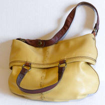 Lucky Brand Yellow Slouchy Fold Over Shoulder Bag Soft Butter Leather Hobo Purse Photo