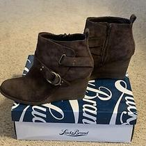 Lucky Brand Yerik Women's Sz 8.m Java Oiled Suede Leather Ankle Boots Wedge Photo