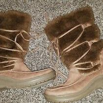 Lucky Tan Suede Leather Faux Fur Size 7.5  Winter Boots Foldover Lace Up Brown  Photo