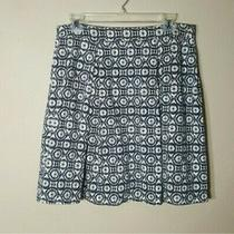 Lucy & Laurel Womens Skirt 12 Black White Blush Geometric Knit Pleat Cotton Photo