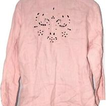 Lucy Pereda Rose Blush Pink Cutout Linen Blouse Button Down Shirt Top Medium M Photo