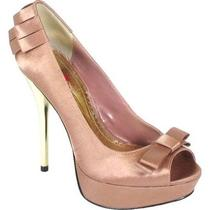 Luichiny Kam Me Peep Toe Bow Pump Blush Pink Satin 6.5 M Photo