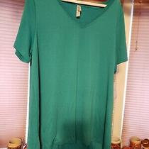 Lularoe 2xl Christy New Solid Teal Green v Neck Short Sleeve Shirt Photo