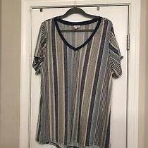 Lularoe 3xl Xxxl Christy T Shirt Top Blue White Stripe Photo