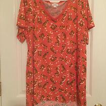 Lularoe Christy Shirt 3xl Orange Background With Tigers Orange Neck v-Neck Photo