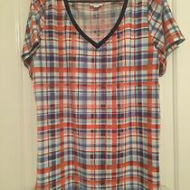 Lularoe Christy Shirt Xl Red/white/blue Plaid Blue Neck v-Neck Photo