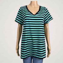Lularoe Christy Striped v-Neck Tunic T-Shirt Top Large Black Green  Photo