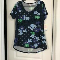 Lularoe Christy T L v Neck Shirt Dark & Light Blue Green Leaves New With Tags Photo