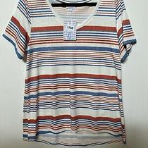 Lularoe Christy T Shirt Red and Blue Stripe on White Size Xl X-Large Photo